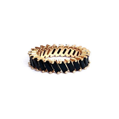 Stacking Ring Black Baguette Gold Plated