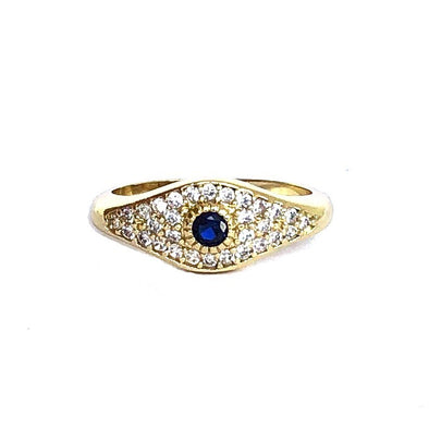 Navy Evil Eye Pinky Ring Gold/ White Crystal
