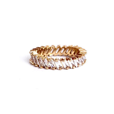 Stacking Ring White Baguette Gold Plated