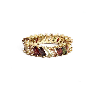 Stacking Ring Rainbow Burgundy Baguette Gold Plated