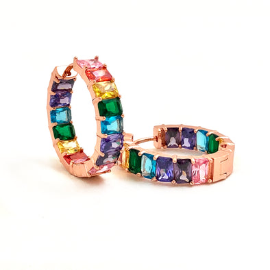 Crystal Rainbow Hoops Rose Gold
