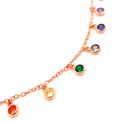 Rose Gold Rainbow Dangling Necklace