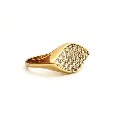 Eye Shape Pinky Ring Gold/ White Crystal
