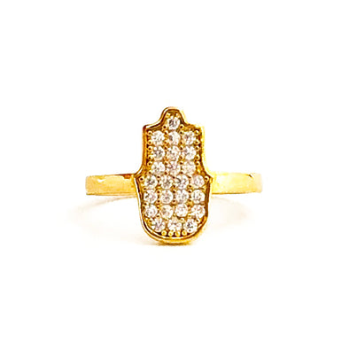 Hamsa Ring Gold/ White Crystals
