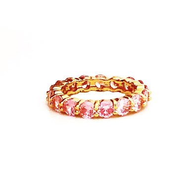 Stacking Ring Pink Medium Gold Plated