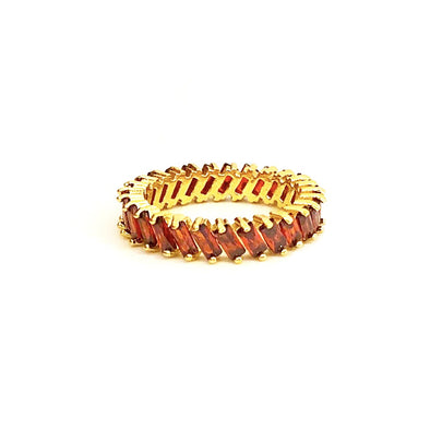 Stacking Ring Rainbow Red Baguette Gold Plated
