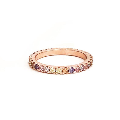 Clio Ring Pink Rainbow Rose Gold