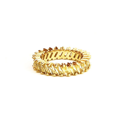 Stacking Ring Yellow Baguette Gold Plated