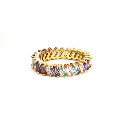 Stacking Ring Rainbow Amethyst Baguette Gold Plated