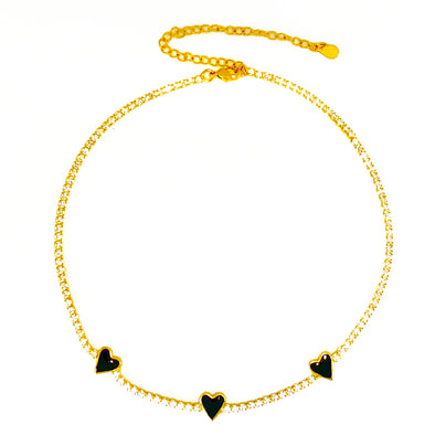 Enamel Black Heart Tennis Choker