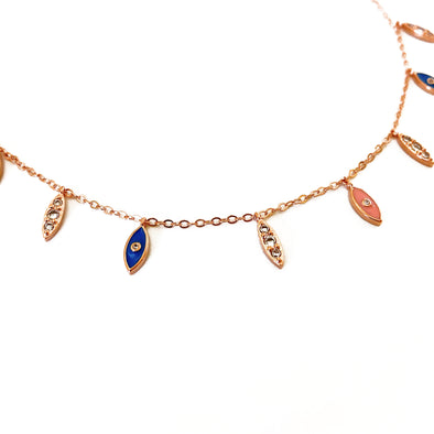 Enamel And Crystal Dangling Evil Eye Choker