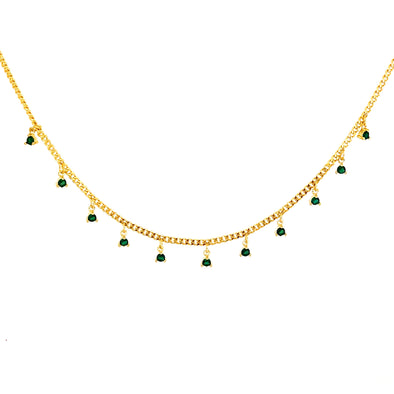 Dangling Crystals Choker Emerald