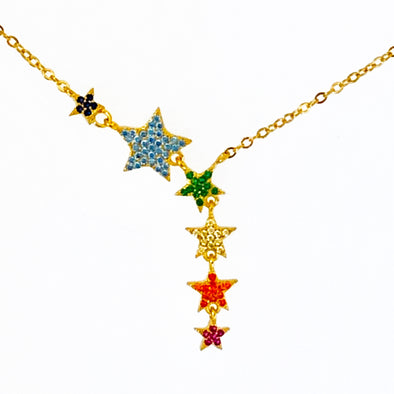 Crystal Rainbow Stars Necklace