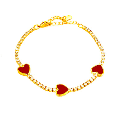 Enamel Red Heart Tennis Bracelet