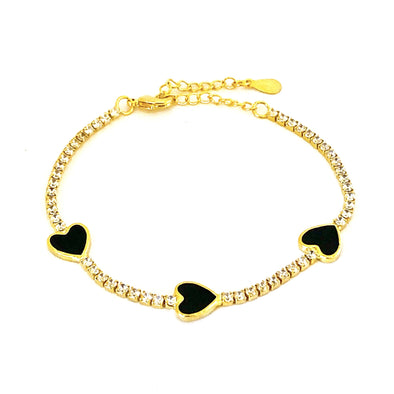 Enamel Black Heart Tennis Bracelet