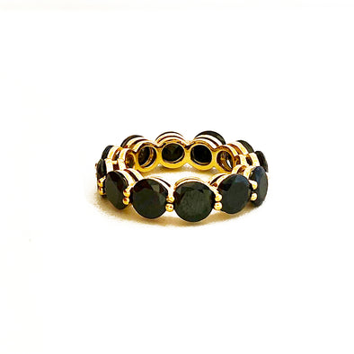 Stacking Ring Black Medium Gold Plated
