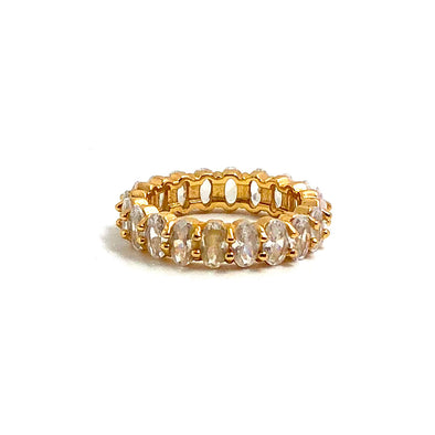Stacking Ring Oval White Gold Plated