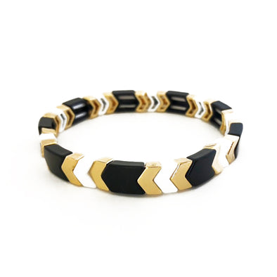 The New Arrow Elastic Bracelet White/ Black/ Gold