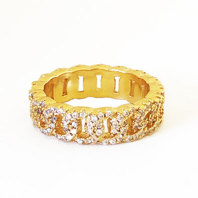 Chain Ring Gold/ White Crystals