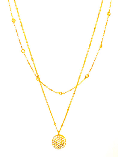 Crystal Disc Layered Necklace Set In Gold
