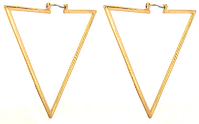 Modern Triangle Hoop Earrings In Gold