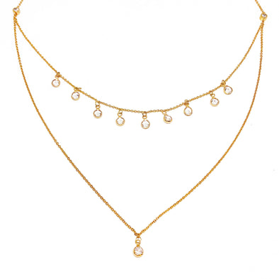 Necklace Dreamy Dainty Double Chain With Crystals