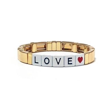 LOVE Color Block Elastic Bracelet Gold