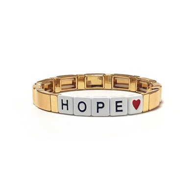 HOPE Color Block Elastic Bracelet Gold