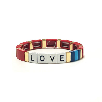 LOVE Color Block Elastic Bracelet Red