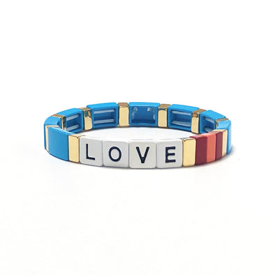 LOVE Color Block Elastic Bracelet Turquoise