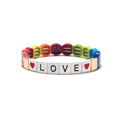LOVE Summer Rain Color Block Elastic Bracelet