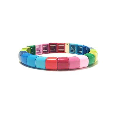 Summer Rain Rounded Color Block Elastic Bracelet