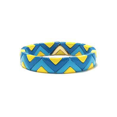 Party Time Color Block Elastic Bracelet Blue