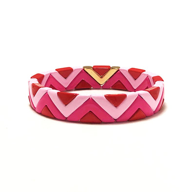 Party Time Color Block Elastic Bracelet Pink