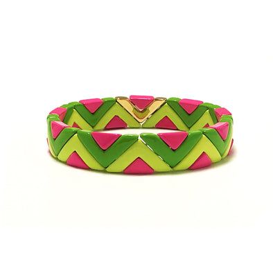 Party Time Color Block Elastic Bracelet Green