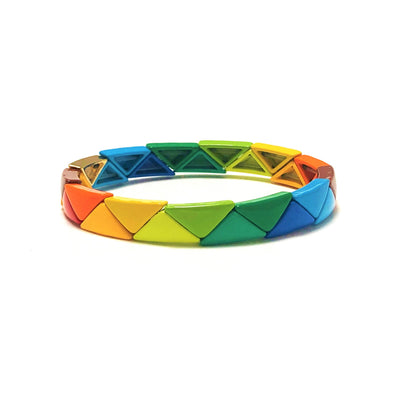 Harlequin Triangle Color Block Elastic Bracelet