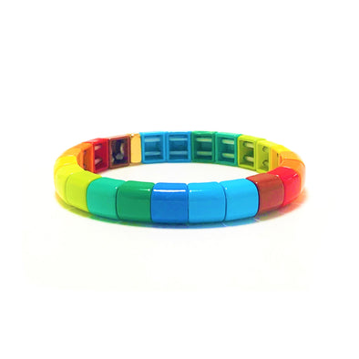 Harlequin Rounded Color Block Elastic Bracelet