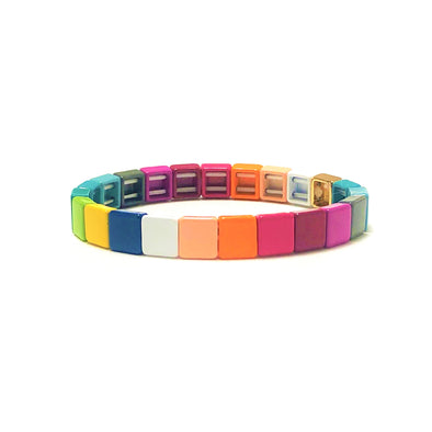 Harlequin Color Block Elastic Bracelet