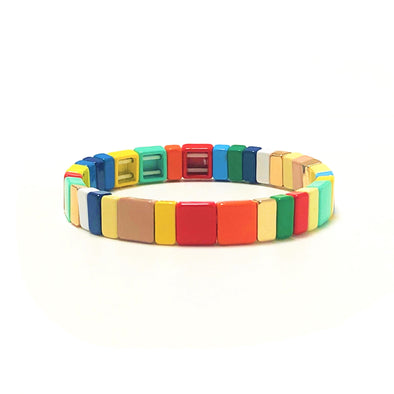 Fall Rainbow Color Block Elastic Bracelet
