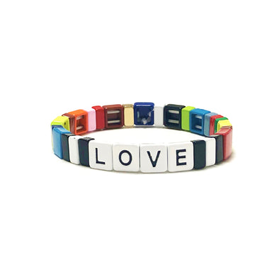 LOVE Fall Rainbow Color Block Elastic Bracelet