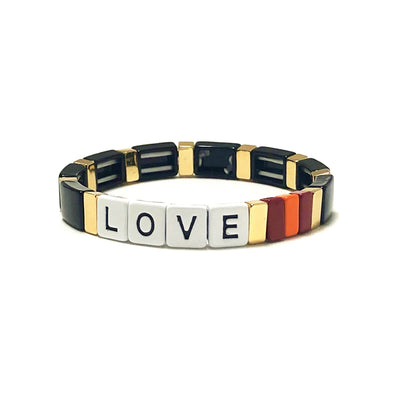 LOVE Color Block Elastic Bracelet Black