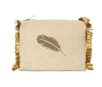 Pouch Melissa Beauty Bag Natural Raffia/Feather