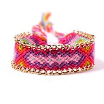 Handmade Cotton Anklet Multi Violet