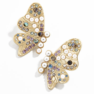 Cosette Butterfly Pearl And Crystal Earrings