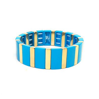 Deep Blue Color Block Elastic Bracelet