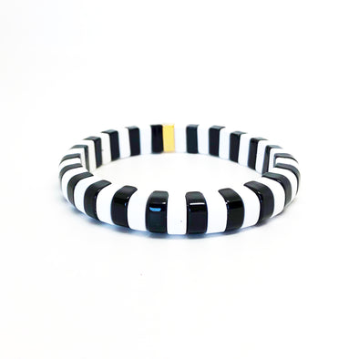 London Rounded Color Block Stretch Bracelet