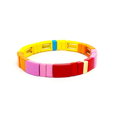Pink Party Color Block Elastic Bracelet
