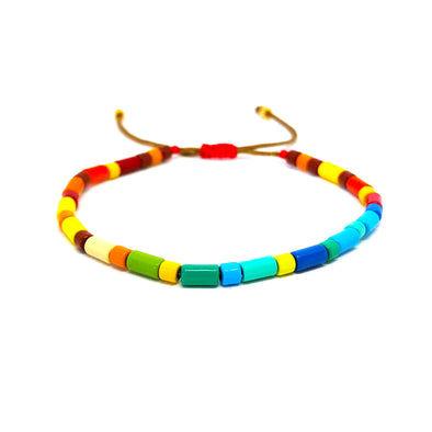 Tube Drawstring Color Block Bracelet Multi