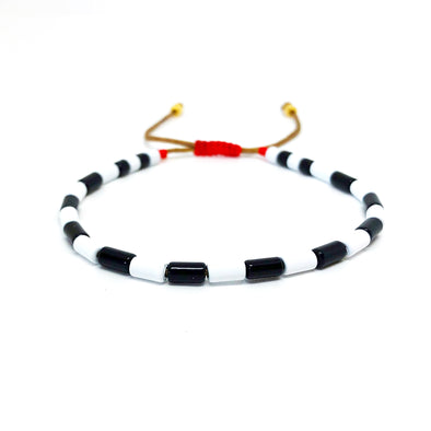 Tube Drawstring Color Block Bracelet White/ Black