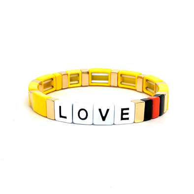 LOVE Color Block Elastic Bracelet Yellow